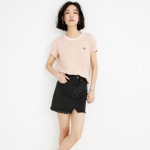Madewell Rigid Denim A-Line Mini Skirt in black